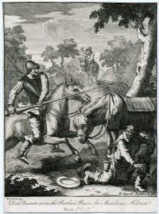 Hogarth - Quixote seizes the barber's bason